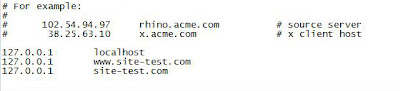 Les différentes lignes du fichier hosts