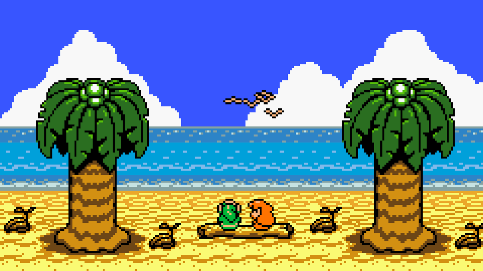 Link y Marin mirando al mar