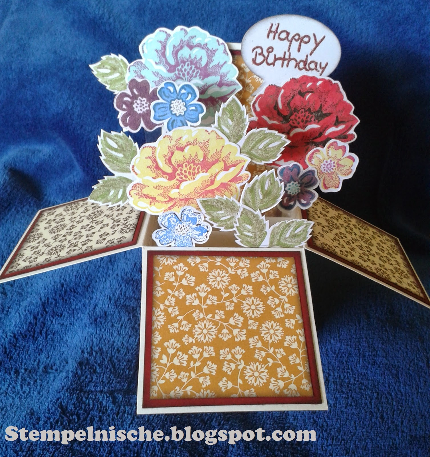Pop up Blumenbox mit Stampin' up gefertigt