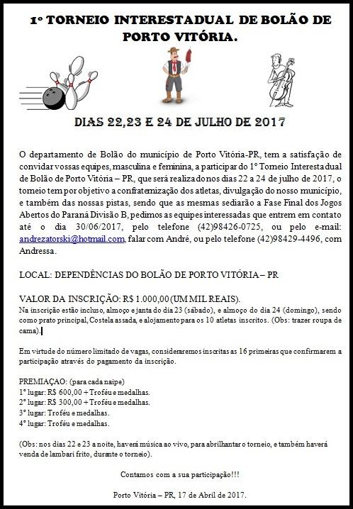 TORNEIO EM PORTO VITÓRIA - PR