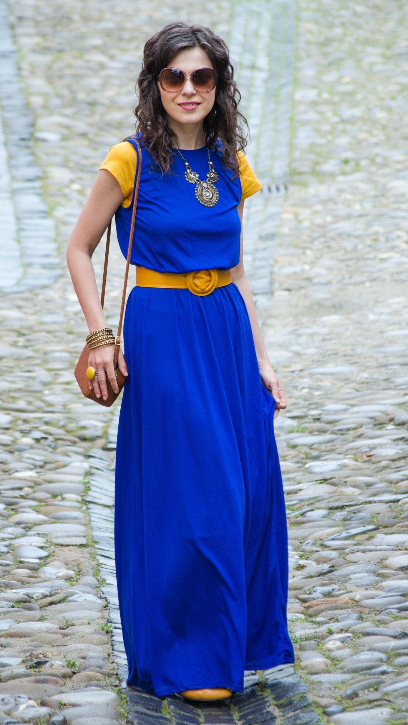 Cobalt blue dress and shoes
