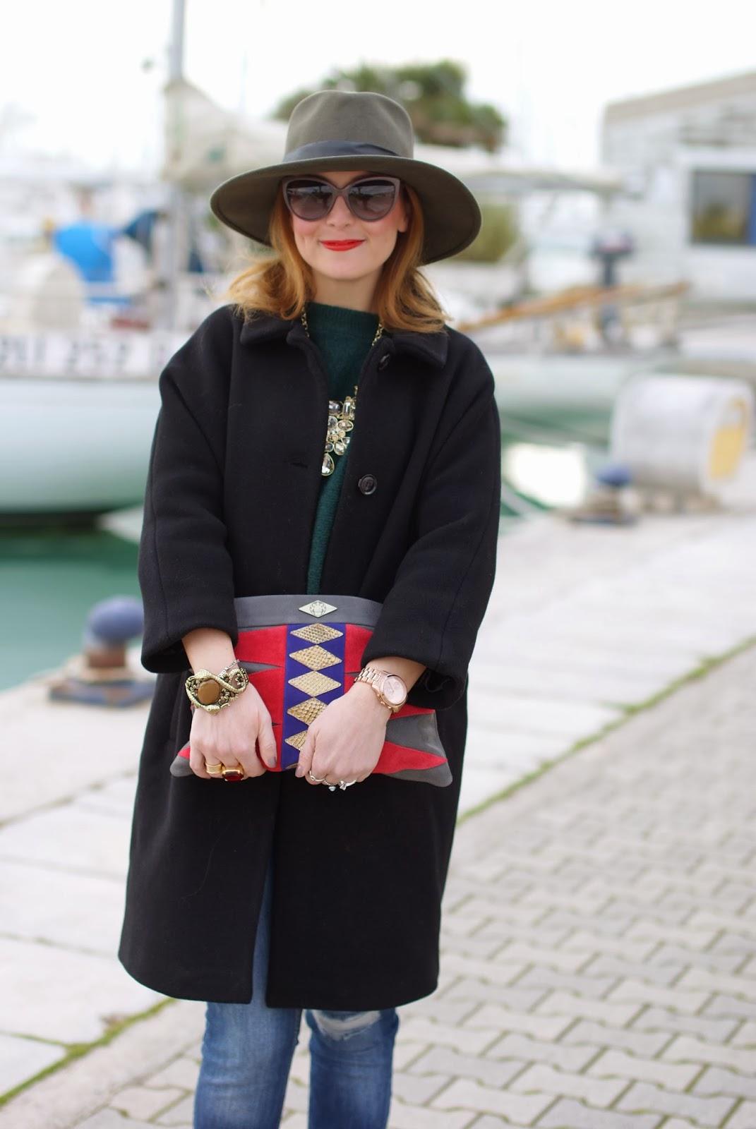 Ecua-Andino australian hat, Moschino sunglasses, Mohekann Navajo clutch, Fashion and Cookies, fashion blogger