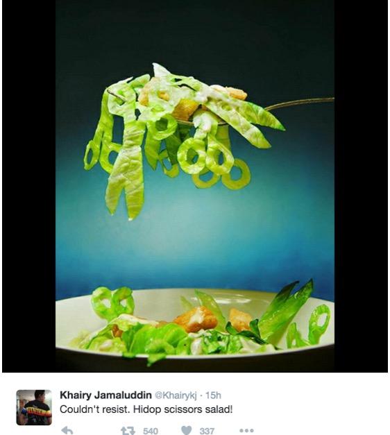 Makan malam di parlimen hidang 'Scissors Salad', KJ sampai tak sabar