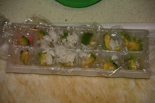 ... and ice cube tray, to get the sushi out after use some plastic foil
