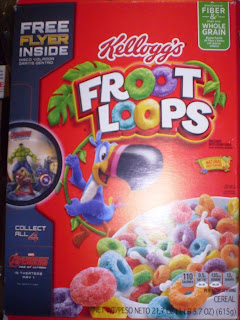 Front of Froot Loops box with Avengers Age of Ultron Flyer