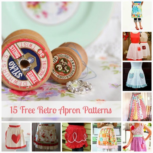 Free Retro Apron Patterns | Becky Cooks Lightly #freesewingpatterns