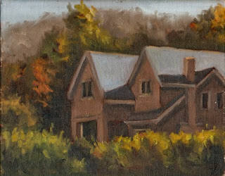 Oil painting of a two-storey house with two gabled roof sections.
