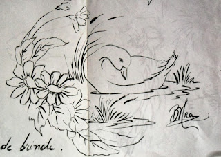 pato e flores