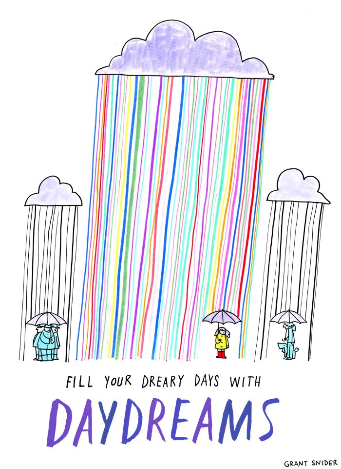 Rainy Daydream | Das Bild des Tages - Poster Art von Grant Snider