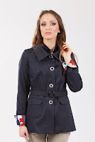 Trench scurt din tercot bleumarin SR071FM (Ama Fashion)