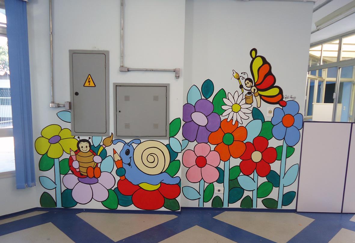 Preferência Arte Poesia Decoração Cenografia: Pintura de escola infantil  ZS88
