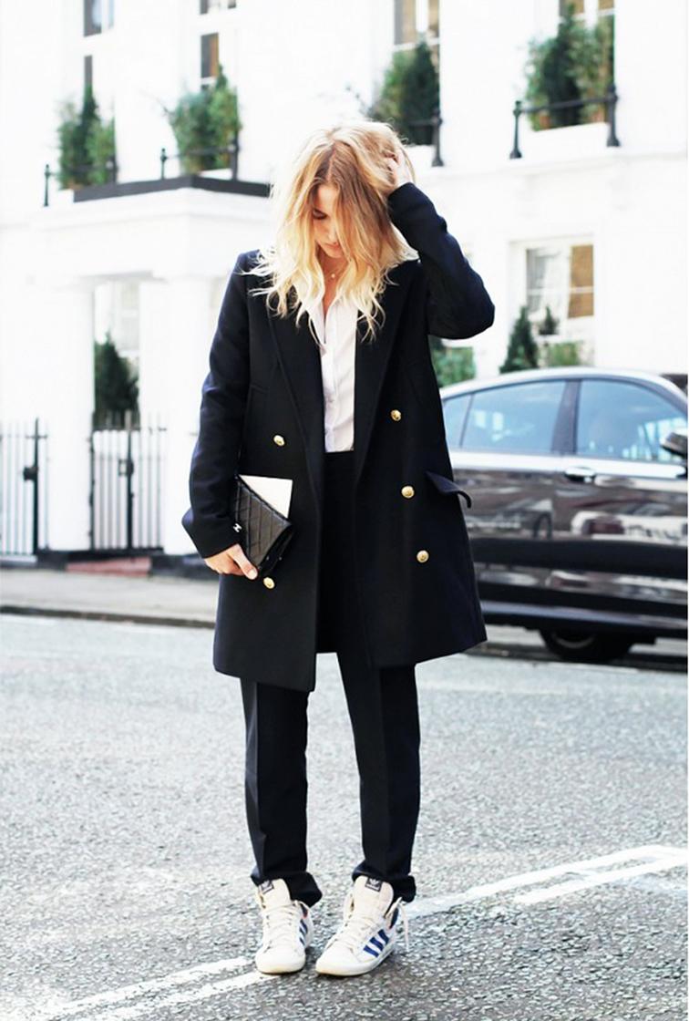 Adenorah blogger, street style, long pea coat, sneakers, Adidas