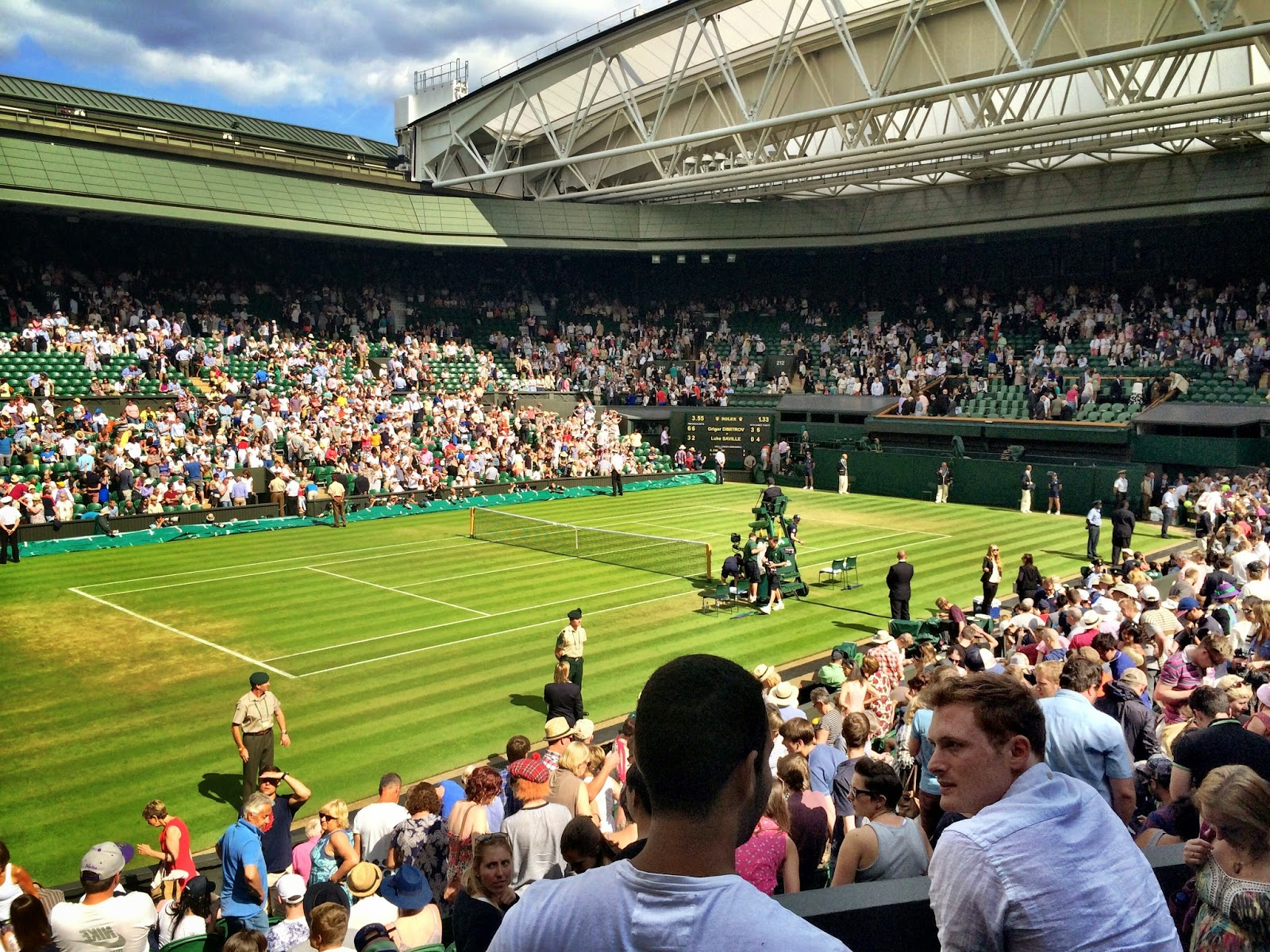 A close up of Centre Court, Wimbledon 2014