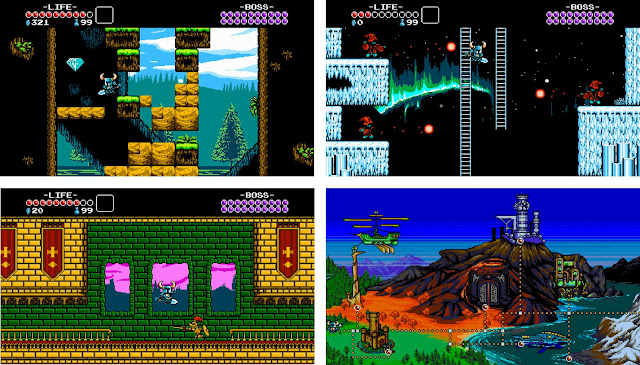 Screenshots of the video game Shovel Knight