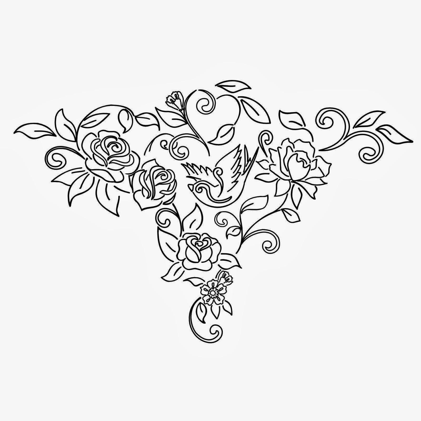 Roses and bird tattoo stencil