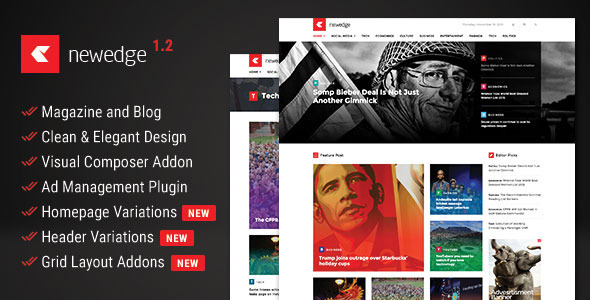 Free Download NewEdge - Responsive WordPress Magazine Theme