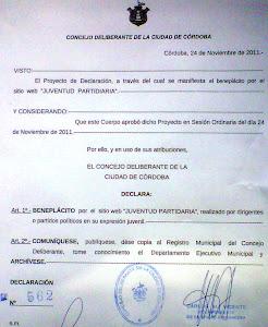 Juventud Partidaria, declarado de Interés Legislativo por el Concejo Deliberante
