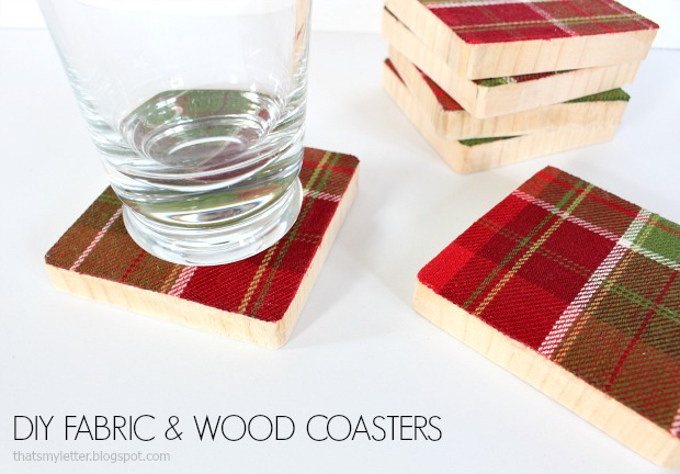 diy fabric and wood coasters gift idea
