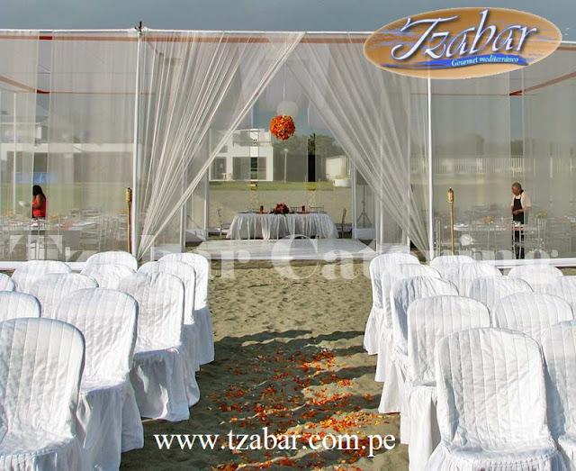 Tzabar catering gourmet y eventos matrimonio civil en casa de playa mamacona - Toldos para la playa ...