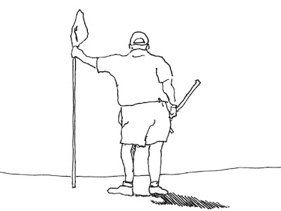 Ink drawing of the golfer ahead of us