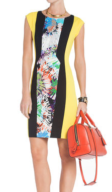 Floral Blocked Sheath Dress