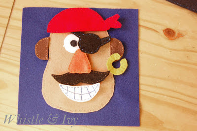 Mr. Potatohead Felt Quiet Book Template and Pattern Pirate