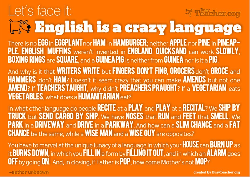 english is a crazy language, funny, facts, english, funny picture