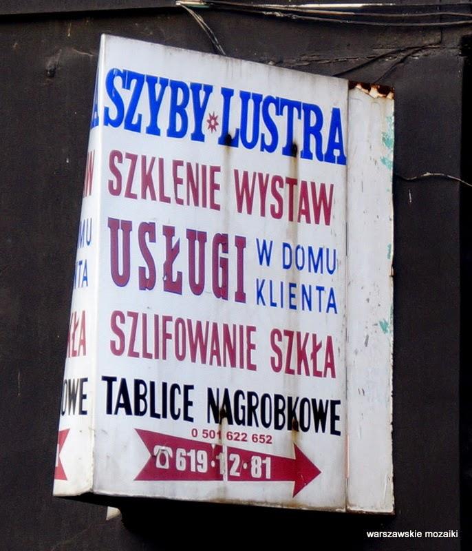 Warszawa Praga Ząbkowska tabliczka usługi szklarz