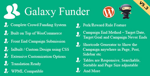 Free Download Galaxy Funder V6.6 - WooCommerce Crowdfunding System