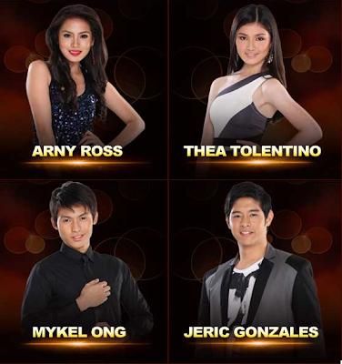 Arny Ross (Dasmariñas, Cavite) Thea Tolentino (Calamba, Laguna) Mykel Ong (Batangas) Jeric Gonzales (Calamba, Laguna)