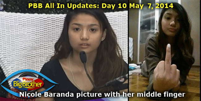 PBB All In Updates: Day 10 May 7, 2014 abs-cbn pbb all in nicole baranda picture with her middle finger