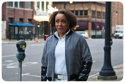 Erica B.'s - DIY Style!  Burda 7210 | Leather-sleeved Tweed Bomber Jacket