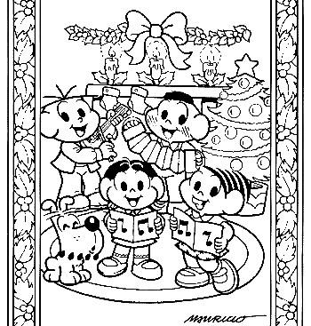 imagens para colorir turma da monica de natal - desenhos de natal turma da mônica para colorir
