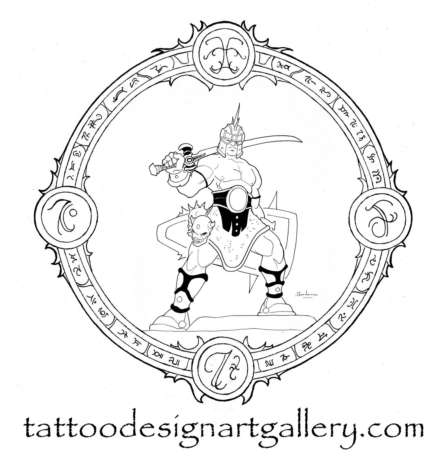 Demon Warrior Tattoo Designs Drawings