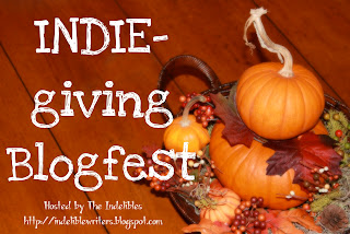 Badge for the INDIE-giving Blogfest at The Indelibles.