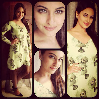 Sonakshi Sinha spotted in Masaba fan print dress at her movie Bullet Raja's promotions