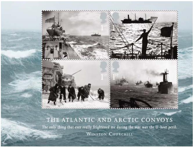 Miniature sheet of stamps showing Arctic & Atlantic Convoys.