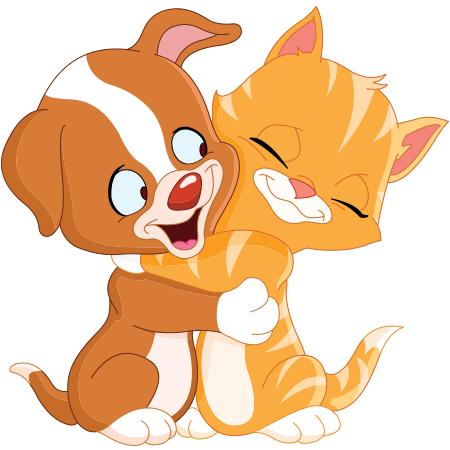 Cute animals hugging