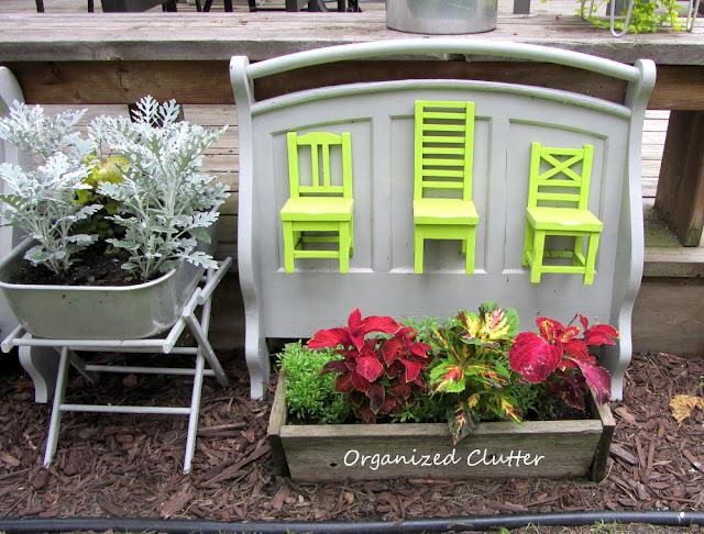 Futon end repurposed as garden decor