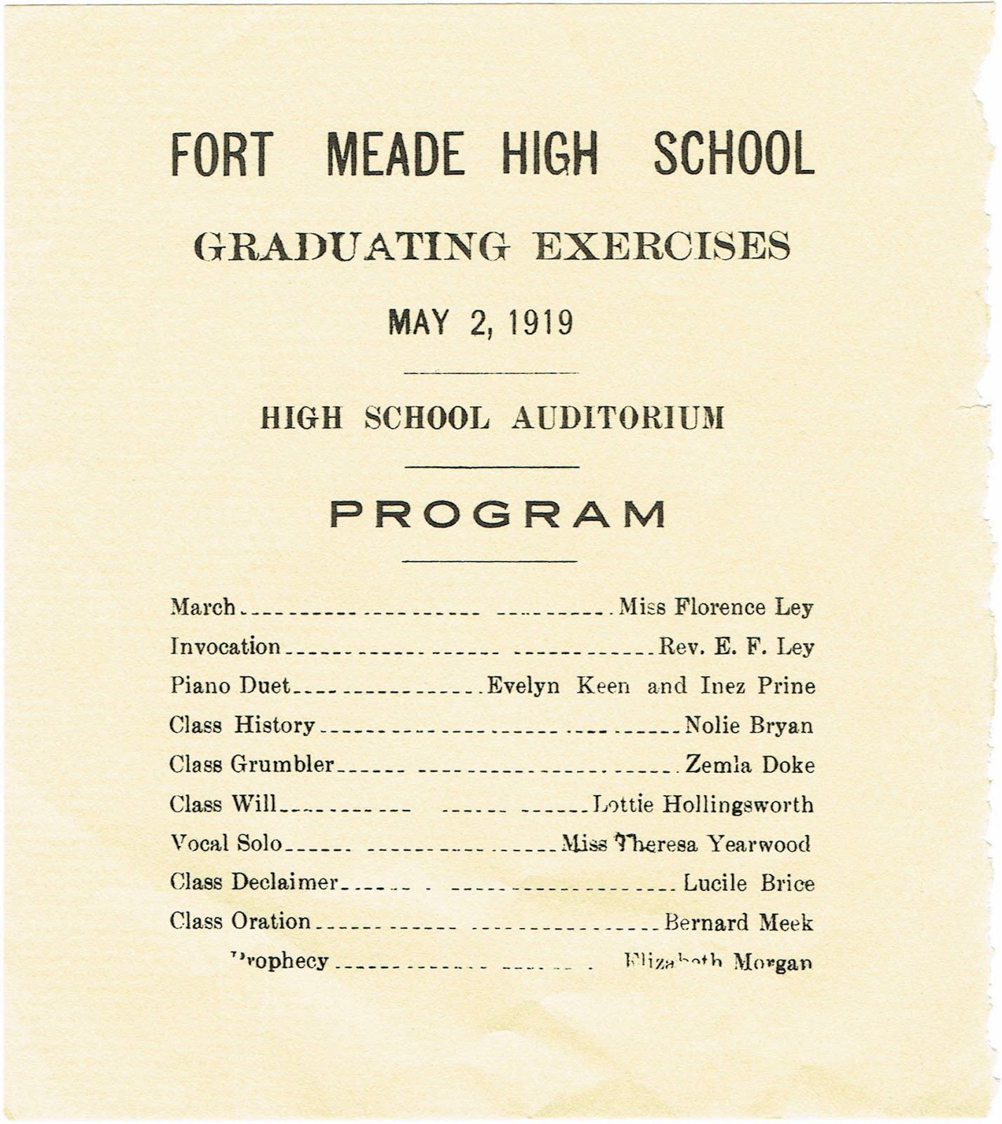 part of the 1919 graduation program for Fort Meade Florida HIgh School