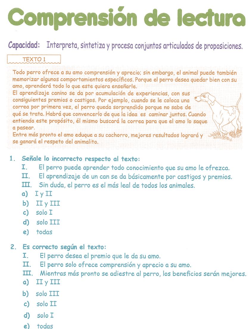 Comprensión de Lectura para niños 3° Grado Primaria | Razonamiento ...