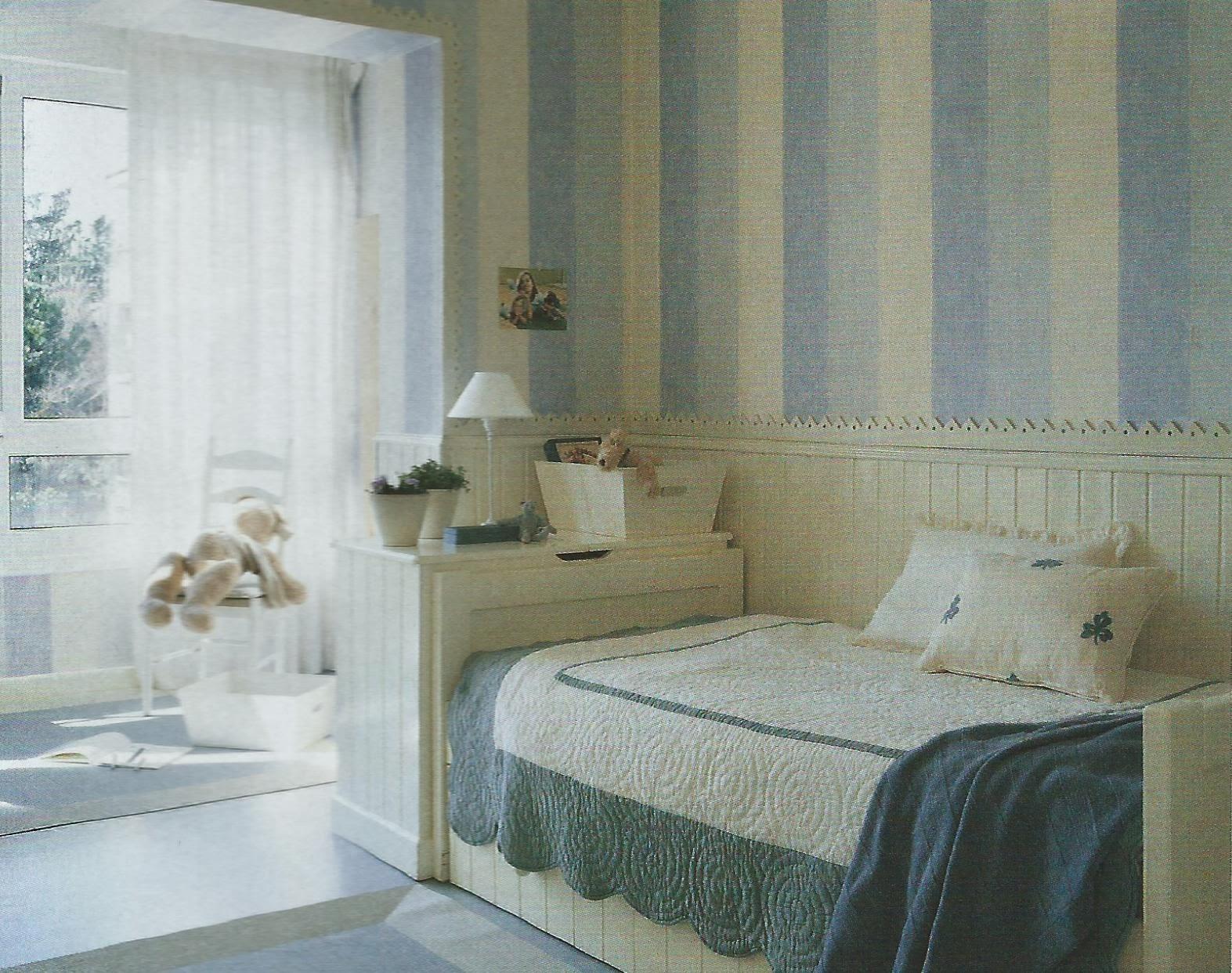 Dormitorios infantiles su mundo pronur inversiones - Papel pared rayas verticales ...