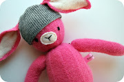 Here is that little bunny made from recycled sweaters I have been working on .