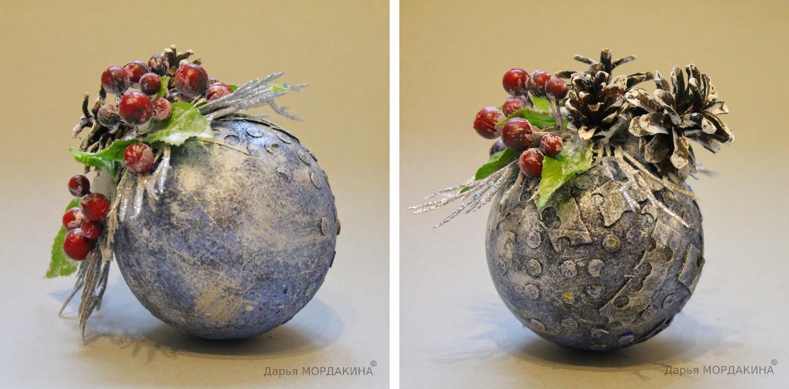 новогодний елочный шарик, елка, праздник, зима, декор, декупаж, шарик, шар, 2015, калина
