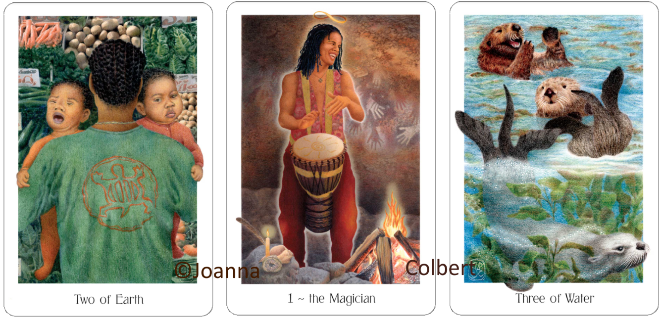Gaian Tarot Two of Earth, The Magician, Three of Water,  Joanna Colbert