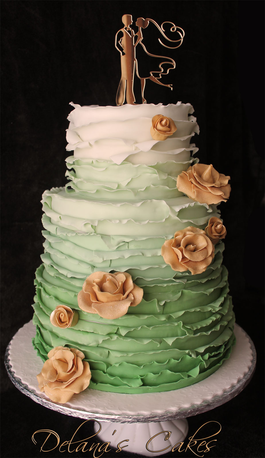 Mint Ombre Ruffles Wedding Cake