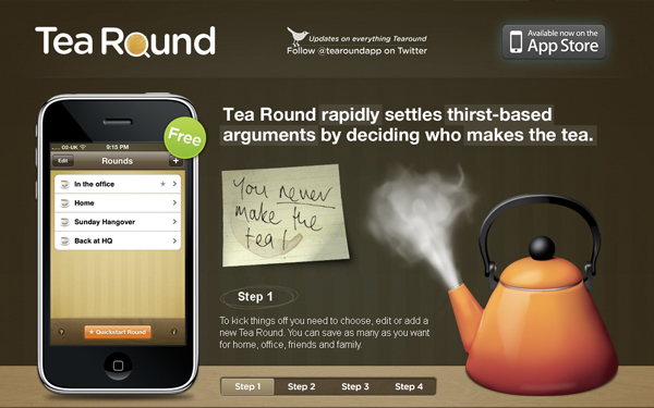 Tea Round: iphone application website