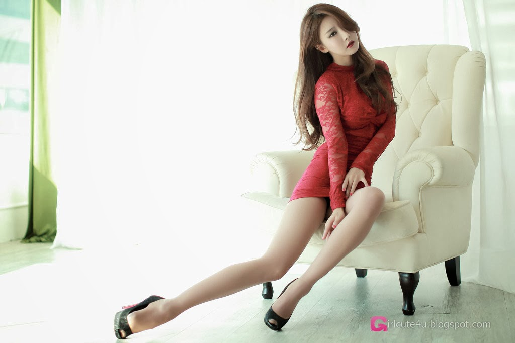 1 Park Hyun Sun In Short Red Dress - very cute asian girl-girlcute4u.blogspot.com