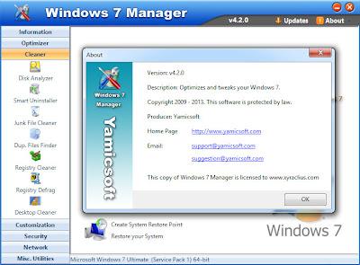 Yamicsoft Windows 7 Manager 4.2.0 Full Keygen Patch