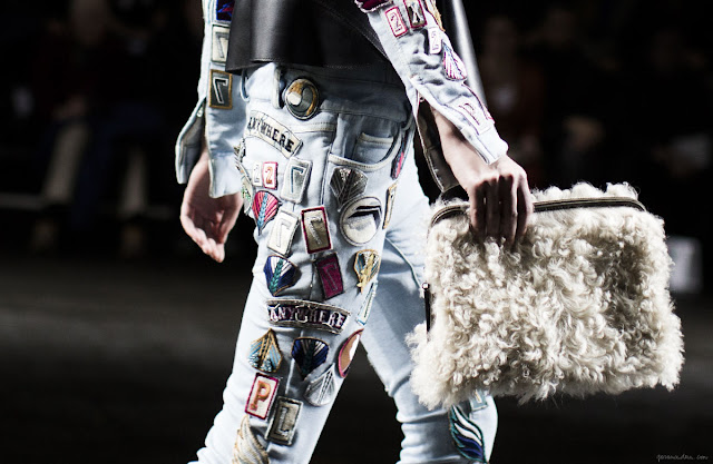 phillip lim fall 2013, classic denim jacket with patches, 90's style, grunge, denim jackeet, patches, diy, fashion diy